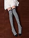 Svart och vit randig bomull Punk Lolita Over Knee Socks