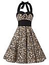 Femei Rochie Vintage Linie A Leopard Halter Lungime Genunchi Bumbac