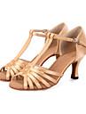 Chaussures de danse(Noir Vert Ivoire) -Personnalisables-Talon Bobine-Satin-Latine