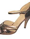 Chaussures de danse(Marron) -Personnalisables-Talon Personnalisé-Similicuir-Latine Salsa Salon