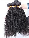 3pcs / lot brasilianska jungfru hår obearbetat jungfru hår väva kinky lockigt jungfruligt hår väver