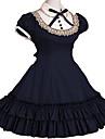 Une Pièce/Robes Lolita Classique/Traditionnelle Rétro Cosplay Vêtrements Lolita Rouge Noir Incanardin Gris Bleu Encre RétroManches