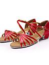 Chaussures de danse(Noir Bleu Marron Rouge Argent Or Léopard Autre) -Non Personnalisables-Talon Bas-Satin Similicuir-Latine Salsa Salon
