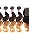 Trame cheveux avec fermeture Cheveux Brésiliens Ondulation naturelle 18 Mois 4 Pièces tissages de cheveux