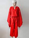 Inspirerad av InuYasha Inu Yasha Animé Cosplay Kostymer/Dräkter cosplay Suits / Kimono Enfärgat Röd Lång ärm Topp / Byxor / Bälte
