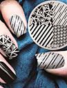 2017 senaste versionen mode geometriskt mönster nagel konst stämpling bild mall plattor