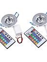 3W Takglödlampa / Panelglödlampa Infälld retropassform 1 Integrerad LED 200-250 lm RGB Fjärrstyrd / Dekorativ AC 85-265 V 2 st