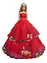 Prinsessa Klänningar För Barbie Doll Röd Klänningar För Flicka doll Toy