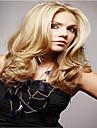 hög kvalitet syntetisk platina blont långt vågigt syntetiskt hår Capless peruk
