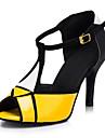 Chaussures de danse(Jaune) -Personnalisables-Talon Personnalisé-Similicuir-Latine Salon
