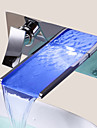 Bathroom Sink Faucet with Color Changing LED Waterfall Faucet (Wall Mount)