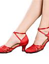 Chaussures de danse(Noir Rouge) -Non Personnalisables-Talon Cubain-Satin-Moderne Salon