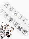 1200pcs ab färg akryl diamant nail art dekorationer 1,5 / 2/3/4/5/6 mm