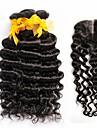 4pcs beaucoup malaisien vague profonde cheveux bouclés vierge avec fermeture 3Bundles remy non transformés trames de cheveux humains avec
