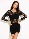 Women's Floral Lace Patchwork Crew Neck Long Sleeve Bodycon Sexy Dress