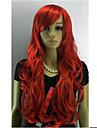 Capless Lång lockigt rött Sned Kvinnor Syntes Hair Full Wig