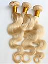 """3pcs / lot 8 """"-34"""" couleur blond 613 blanchiment brésilien de vague de corps cheveux brésiliens cheveux blonds vierge humaine armures"""