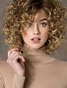 Femme Perruque Synthétique Sans bonnet Court Frisés Blonde Partie latérale Perruque Naturelle Perruque Déguisement