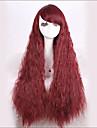 snygg fluffig snyggt Hjälp red tecken långt vågigt syntetisk peruk för kvinnor