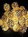 elfenben vita handgjorda rotting bollar sträng lampor för fairy parti& uteplats inredning parti (20 st)