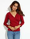 Femei În X Bluză Elegant Simplu(ă),Mată Manșon Lung Toate Sezoanele-Roșu / Negru / Maro Opac Spandex