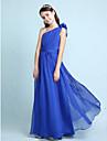Lanting Bride® Hasta el Suelo Raso Vestido de Dama de Honor Junior Corte en A / Princesa Sobre un Hombro Natural conVolantes / Cinta /