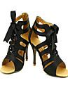 Chaussures de danse (Noir/Rouge/Or) - Personnalisable Satin - Salle de bal/Danse latine/Salsa