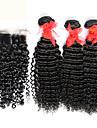 3 buntar brasilianska lockigt jungfru hår med stängning obearbetat människohår väva och gratis / mellersta delen spetstopp stängning