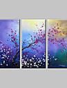 HANDMÅLAD Blommig/Botanisk olje~~POS=TRUNC,Klassisk / Moderna Tre paneler Kanvas Hang målad oljemålning For Hem-dekoration