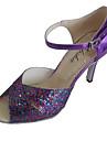 Chaussures de danse(Violet) -Personnalisables-Talon Personnalisé-Cuir Verni Paillette Brillante-Latine