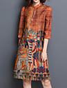 Femei Casul/Zilnic / Plus Size Vintage / Șic Stradă Larg / Shift Rochie-Imprimeu ¾ Manșon Stand Lungime Genunchi Oranj Bumbac / Poliester
