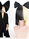 halloween parti nätet sia levande detta agerar halv svart& blont kort peruk med bowknot tillbehör kostym cosplaya peruk