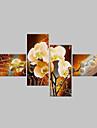 Peint à la main A fleurs/Botanique Toute Forme,Classique Moderne Quatre Panneaux Peinture à l'huile Hang-peint For Décoration d'intérieur
