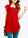 Femei Asimetric Bluză Casul/Zilnic Plus Size / Șic Stradă,Mată Manșon scurt Vară-Roșu / Negru / Verde Mediu Poliester