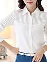 Femei Guler Cămașă Cămașă Muncă Plus Size,Mată Manșon Lung Primăvară-Alb Mediu Poliester