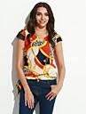 Femei În V Bluză Casul/Zilnic Simplu(ă),Imprimeu Manșon scurt Primăvară / Vară / Toamnă-Multi-color Mediu Poliester
