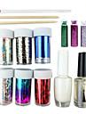 Nail Art Laser Foil Set étoilée (6 aléatoire Foil Designs, colle, Top Coat, 3 Décoration, 3 bâtons)