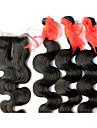 """4 Pièces Ondulation naturelle Tissages de cheveux humains Cheveux Brésiliens 100+/-5 12""""28 Extensions de cheveux humains"""