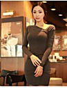 asimetric cu maneca lunga bodycon rochie mini femei