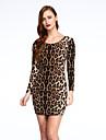 sexy leopard mânecă lungă rundă de rochie de gât femei (bust :86-102 cm, talie :58-79cm, sold :90-104cm)