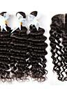 4 Pièces Ondulation profonde Tissages de cheveux humains Cheveux Indiens 100+/-5 12-30 Extensions de cheveux humains