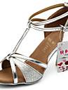Chaussures de danse(Noir Marron Argent Or) -Personnalisables-Talon Personnalisé-Satin Similicuir Paillette Brillante-Latine Salon