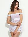 Feminin Ultra Sexy Pijamale,Mediu Dantelă / Polyester-Sexy / Dantelă Solid Alb / Negru