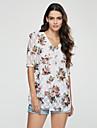Femei În U Bluză Casul/Zilnic Simplu(ă),Floral ½ Lungime Manșon Primăvară / Vară / Toamnă-Alb / Negru Subțire