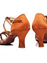 Chaussures de danse(Marron Autre) -Personnalisables-Talon Personnalisé-Satin-Latine Salon