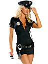 Costume Cosplay Costume petrecere Politie Festival/Sărbătoare Costume de Halloween Negru 纯色Rochie Centură Pălării/Căciuli Mai multe