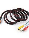 5 Pieds HDMI mâle d'entrée à 3 Fiches RCA Audio Vidéo Câble AV Adapter Converter connecteur, Durable (noir, 1.5M)