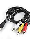 USB 2.0 mâle à 3 RCA mâle Câble audio vidéo Noir (1M)