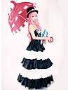 Inspiré par One Piece Perona Manga Costumes de Cosplay Costumes Cosplay Robes Rétro Blanc Noir Sans Manches Robe Chapeau Pour