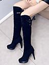 Femme Faux Daim Automne Hiver Habillé Talon Aiguille Noir 7,5 à 9,5 cm